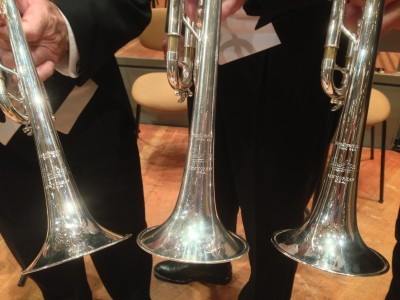 "Pittsburgh Symphony trumpeter's vintage ""New York 67"" model trumpets."