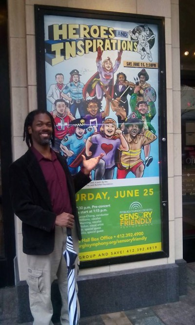 Marcel and his artwork in front of Heinz Hall (credit Kristin Ward)